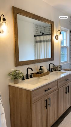Bathroom Renos, Bathroom Ideas, Small Bathroom, Bathroom Renovations, Remodel Bathroom, Wood Framed Bathroom Mirrors, Wood Bathroom Cabinets, Bathroom Wall Colors, Grey Bathroom Vanity
