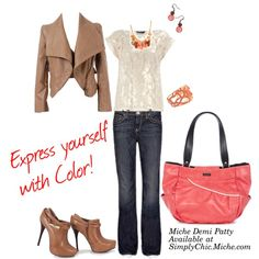 Express yourself with Color!, The same, strong neutrals outfit can change personality with the addition of colorful accessories