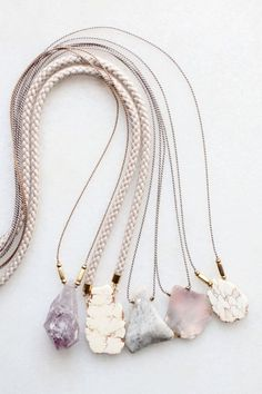 Amethyst, magnesite and opal necklaces