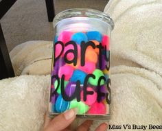 "Party Puff Jar - a whole class reward system. We get a ""party puff"" if they receive a compliment. Once the whole jar is full, then we get a party! Maybe a ""honey jar"" or ""bee hive""?!"