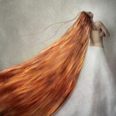 Conceptual Fine Art Photograph 8x8 golden hair by borninnovember, $35.00