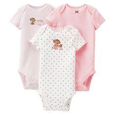 Just One You�Made by Carter's� Newborn Girls' Monkey 3 Pack Short-sleeve Bodysuit Set - Light P