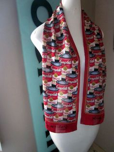 Andy Warhol Iconic Pop Art Campbells Soup Can Silk Scarf