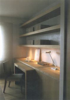 hp-bureau-what a great idea...very functional space saver, love the thick floating shelves too.
