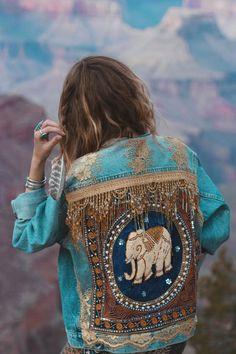 Hecho a la medida Chaqueta de elefante decorado en azul | Etsy