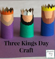 We created 3 super cute kings using paper towel rolls and origami paper to celebrate Three Kings Day or Epiphany. What a fun way end the Christmas season! Christmas Activities, Christmas Crafts For Kids, Kids Christmas, Holiday Crafts, Man Crafts, Bible Crafts, Epiphany Crafts, King Craft, Toilet Paper Roll Crafts