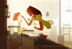 Snack. by PascalCampion on deviantART #pascalcampionart _Wow, Mom, this is so good. _ I know sweetie. _ How did you do it? _I made your sandwich with a lot of love......and a dollop of Nutella.