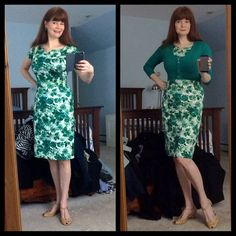 """B Fuller looks gorgeous in the Jade Watercolor Martini Dress! She saud """"Perfect retro floral sheath from Trashy Diva! Can you be in love with a dress?"""""""