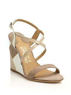 Salvatore Ferragamo Gris Colorblock Suede & Leather Wedge Sandals