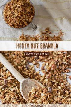 Dig in to this honey nut granola. This super easy recipe creates the perfect slightly sweet, crunchy granola for any granola craving. Honey Nut Granola Recipe, Gluten Free Granola, Crunchy Granola, Granola Bars, Vegan Recipes Videos, Vegan Recipes Easy, Yummy Recipes, Focus Foods, Dairy Free Breakfasts