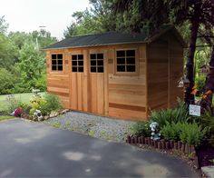 """Cedar Shed """"Willow"""" ft Large timber / wooden garden shed. Timber Shed Ideas, Timber Garden Sheds, Wooden Garden, Wood Storage Sheds, Garden Storage Shed, Garden Shed Ideas Australia, Tropical Fire Pits, Garden Structures, Outdoor Structures"""