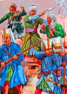 Turgut Reis leading Hafsid Berber soldiers and Ottoman Janissaries at the Battle of Preveza, 1538