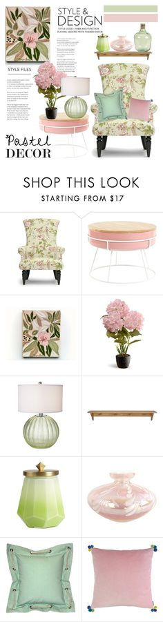 """Pretty Pastels"" by hastypudding ❤ liked on Polyvore featuring interior, interiors, interior design, home, home decor, interior decorating, Baxton Studio, National Tree Company, Illume and Pillow Decor"
