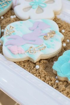 Magical Under the Sea Party Inspiration - Mermaids, mint green with gold accents. This party is so pretty. Mermaid Theme Birthday, Birthday Party Themes, Baby Birthday, Birthday Ideas, Purple Cookies, Mermaid Cookies, Sea Cakes, Disney Princess Party, Mermaid Parties