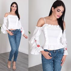 Fashion Wear, Look Fashion, Womens Fashion, Cool Outfits, Casual Outfits, Jean Top, Formal Wear, Blouse Designs, Designer Dresses