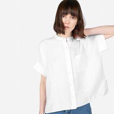 The Linen Collarless Square Shirt - Everlane