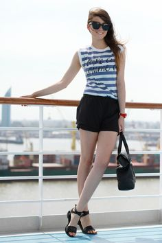 We love @Andy Torres and her #nautical look here, perfect for #spring  Andy wears Toy2Fly Aviator #toywatch in RED.