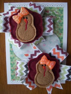 Thanksgiving Turkey Feltie on Harvest Color by LittleDollysShop, $11.00