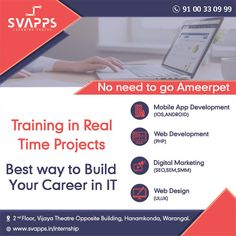 Svapps Software Training Institute gives Training In Real-Time Projects in Warangal. We Specialize in Software Courses in Warangal and also in Hanamkonda Learning Centers, Training Courses, App Development, Brand Names, Mobile App, Opportunity, Digital Marketing, Software