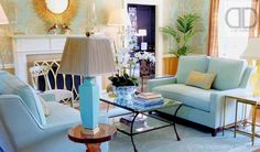 Color Study: Serene Sitting Room Retreat in Blue & Gold | The Decorating Diva, LLC