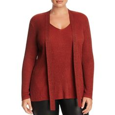 Love Scarlett Plus Metallic Tie-Neck Sweater - 100% Bloomingdale's... ($35) ❤ liked on Polyvore featuring plus size women's fashion, plus size clothing, plus size tops, plus size sweaters, foliage, red sweater, bow neck tie, ribbed sweater, red necktie and red neck tie
