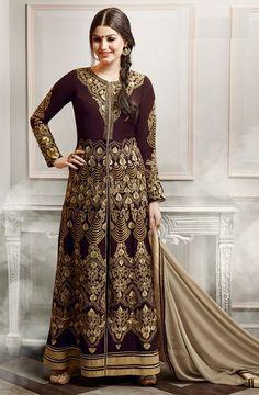 Price @3975.00 INR Colour : Broun  Top : Faux Georgette  Bottom : Santoon  Dupatta : Chiffon  Work : Heavy Embroidery