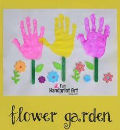 Flower Garden Craft for Kids: Handprint Tulips - Fun Handprint Art & Footprint Craft Ideas - Kids Crafts, Garden Crafts For Kids, Spring Crafts For Kids, Toddler Crafts, Preschool Crafts, Easter Crafts, Crafts To Make, Art For Kids, Craft Kids