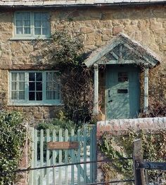 """""""Rosehill Cottage"""" - The Holiday (2006), directed by Nancy Meyers.  Charming inside and out, with beautiful verdigris inspired trim."""