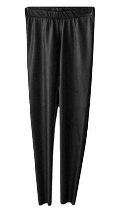 60110b01d519 Luserin Womens Faux Leather Fleece Leggings Keeping Warm Pencile Pants