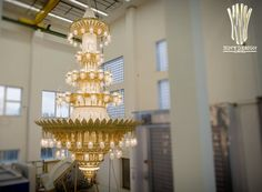 This breathtaking, almost eight meter high chandelier has just been completed after three months construction time. It has now been sent off on its journey t. Muscat, Led, Mosque, Art Deco, It Cast, Chandelier, Journey, Pendants, Construction