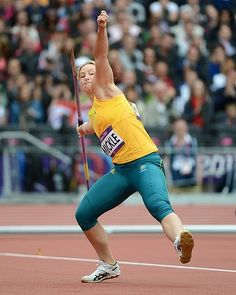 Australia's Kimberley Mickle during the qualifiers for the women's javelin.