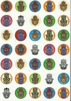 Lot Of 350 Little Round Hamsa Stickers Good Luck Fatima Hand Evil Eye Jewish #firststeps
