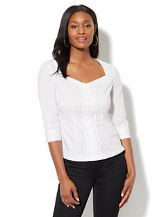 Shop 7th Avenue - Madison Stretch Shirt - Lace-Up. Find your perfect size online at the best price at New York & Company.