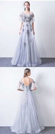 Gray round neck tulle long prom dress, lace evening dress