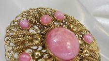 Такая красивая винтажная 1920 НЕПОДПИСАННЫЕ ЧЕШСКОЙ розовый пекинского стекла брошь 1943j