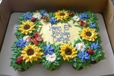 Garden Birthday cupcake cake