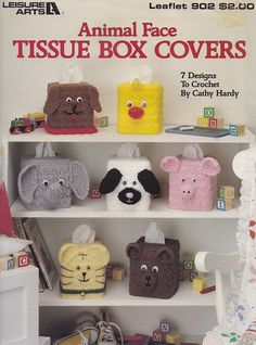 Animal Face Tissue Box Covers, Leisure Arts Crochet Pattern Booklet 902 Pig Mouse Bear Elephant Duck Chick Cat Puppy