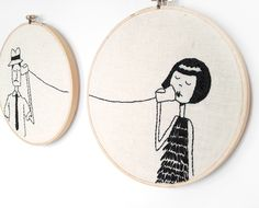 Kitschy Digitals :: Sewing & Needlework Patterns :: BFF Couple Embroidery Pattern