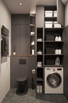 Bathroom Design Luxury, Modern Bathroom Design, Home Interior Design, Small Bathroom Interior, Washroom Design, Modern Laundry Rooms, Laundry Room Layouts, Laundry Room Inspiration, Bathroom Design Inspiration