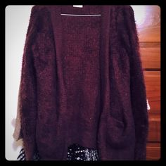 Pins and Needles Fuzzy Cardigan Wine colored fuzzy cardigan from Urban outfitters, perfect for fall and cozy! Labeled small but could fit a medium and probably large as well, has stretch to it! #urbanoutfitters #pinsandneedles #sweater #cardigan #fuzzy #fall Urban Outfitters Sweaters Cardigans