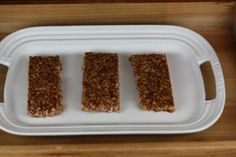 These are a great homemade version of a crunchy granola bar. They make a great treat for breakfast or snack and work great for lunchboxes.