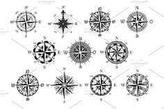 Antique compasses symbols set - Graphics