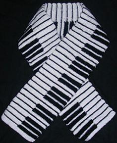 Piano Keyboard Crochet Scarf Free Pattern