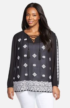 MICHAEL+Michael+Kors+Embroidered+Lace-Up+Georgette+Tunic+(Plus+Size)+available+at+#Nordstrom