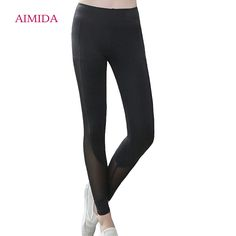AIMIDA 2017 New Women Splicing Gauze Yoga Pants slim Tight Elastic Quick Dry Trousers Sport Fitness Workout Leisure Leggings