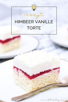 Einfaches Rezept für Himbeer-Vanille-Torte (Frau Holle Kuchen) – Fluffiger Blec… Simple recipe for raspberry-vanilla cake (Frau Holle cake) – Fluffy cake with raspberry-mirror, cream and chocolate flakes. Delicious in summer and winter! Raspberry Recipes, Blueberry Recipes, Ice Cream Recipes, Raspberry Torte, Avocado Dessert, Easy Smoothie Recipes, Healthy Cake Recipes, Vanilla Coffee Cake Recipe, Homemade Frappuccino