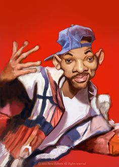 A caricature of Will Smith back in his 'Fresh Prince of Bel Air' days. Will Smith caricature 2 Cartoon Faces, Funny Faces, Cartoon Art, Cartoon Characters, Funny Caricatures, Celebrity Caricatures, Celebrity Drawings, Caricature Artist, Caricature Drawing