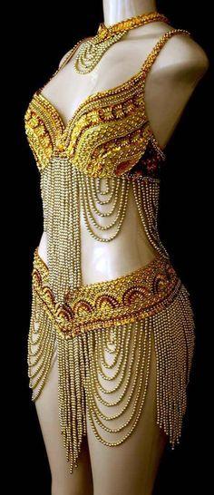 gold beaded Costumes amazing bead work beads beadwork tribal exotic belly dancer burner by lolita Belly Dance Bra, Belly Dance Outfit, Belly Dancer Costumes, Dance Costumes, Cosplay, Dance Outfits, Dance Dresses, Dresses Art, Dance Wear