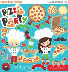 80% OFF SALE Pizza clipart commercial use by Prettygrafikdesign
