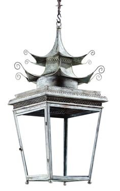 Large Pagoda Lantern  Chinoiserie, Metal, Pendant by Jamb Limited